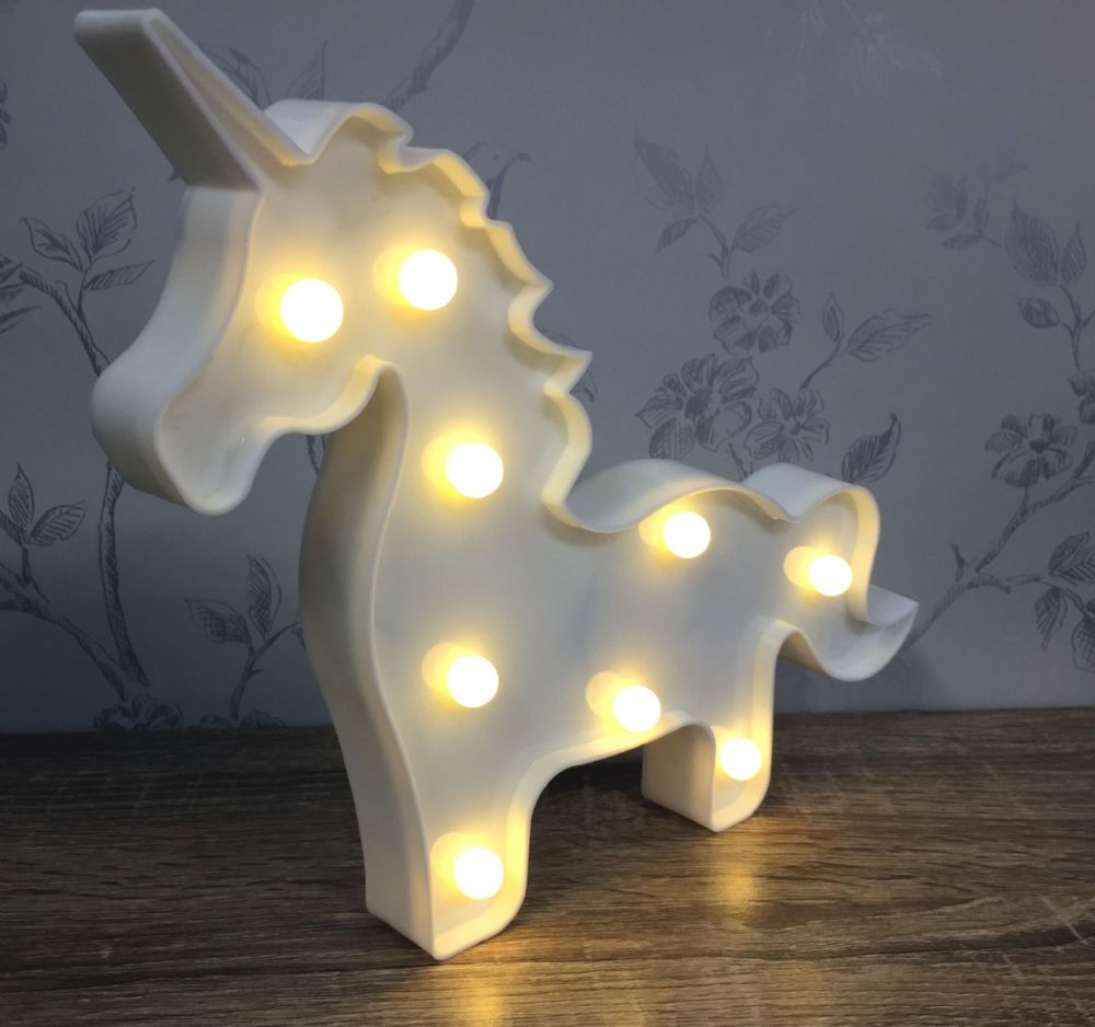 WHITE LED Light Up Unicorn Circus Light ~ Freestanding or Wall Hanging